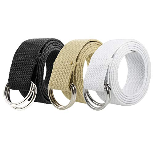Gelante Canvas Web D Ring Belt Silver Buckle Military Style for men women 2052-Black/Beige/White (L/XL)