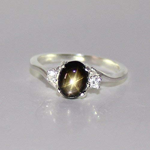 Genuine Black Star Sapphire Sterling Silver Ring with Diamond Accents (Black And Diamond Ring)
