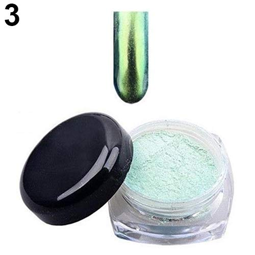 hwangli Women Beauty Chameleon Nail Decoration Powder Fashion Shinning Mirror Chrome Effect Nail Art Dust Glitter Pigment ()