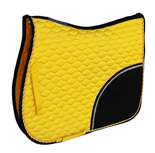 CHALLENGER Horse English Saddle Pad All Purpose Cotton Quilted Trail Saddle Yellow 72133