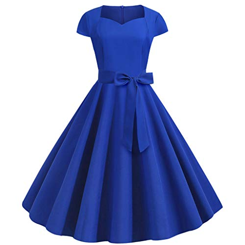 jin&Co Women's Party Prom Dress Vintage Solid Short Sleeve Sashes Pleated Dress Blue