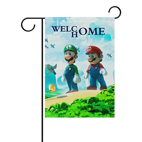 AfdsaswfvsJj Super Mario Bros Cartoon Anime Black Welcome Home Personalized Garden Flag Vertical Double Sided Yard Flags Outdoor Decorative House Yard Flag 28x40 Inch Polyester Durable (The Last Level Of Super Mario Bros)