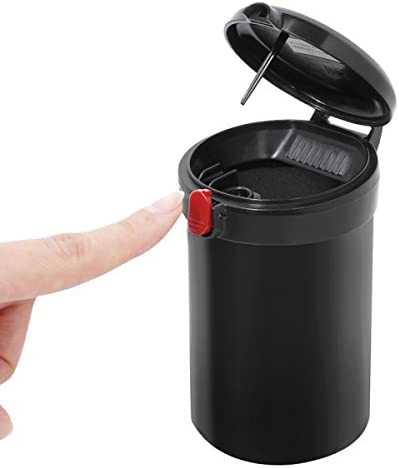 車の灰皿車の使用と金属製のインテリアワンクリックでカバーを開くクリエイティブマルチ機能リムーバブル灰皿(12 * 6.5センチメートル)ブラック YCHAOYUE