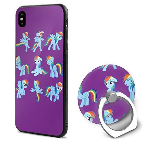 (BAIXRU Fashion My Little Pony Rainbow IPhone X Mobile Phone Shell Ring Bracket White)