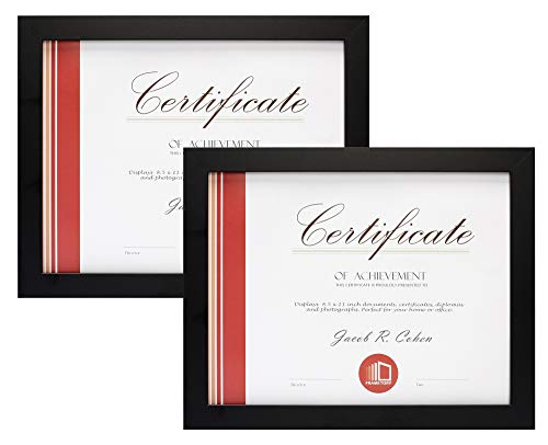 Frametory, Set of Two 8.5x11 Black Frame, Back Hangers for Wall Display, Easel Stand for Tabletop, for Certificates - Documents - Awards - Acknowledgements, Wide Molding (Set of 2, 8.5x11, Black)