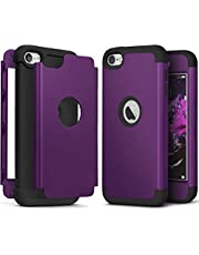 iPod Touch 7th Generation Case with 2 Screen Protector, IDWELL Heavy Duty High Impact Armor Shockproof Case Cover Protective Case for Apple iPod Touch 5/6/7th Generation, Deep Purple+Black