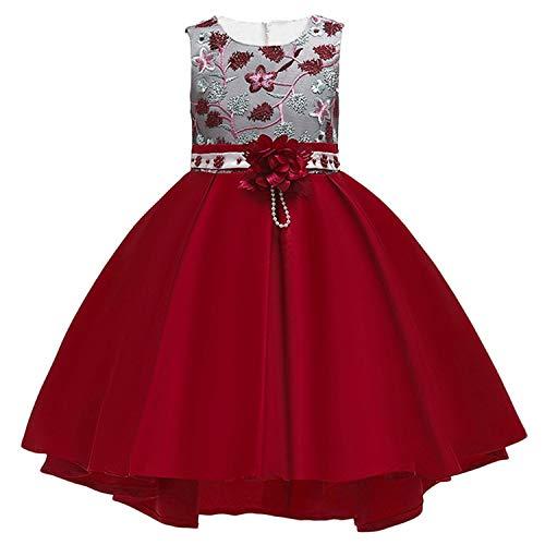 Summer Kids Dresses Wedding Dress Elegant Toddler Girls Princess Evening Party Dresses,Wine red2,5]()