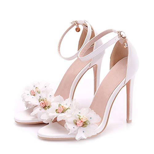 - Owen Moll Women Pumps, Elegant Thin Heels White Flowers Decoration Bride Weeding Shoes