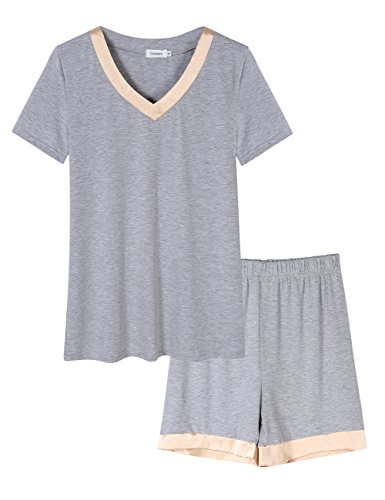 Long Short Set (Coolmee Women's V-Neck Sleepwear Long Sleeve Pajama Set With PJ Set Top & Pants (S, Short Sleeve1-Grey))