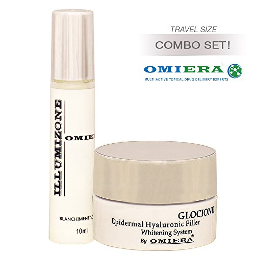 Omiera Dark Circles Under Eye Treatment Illumizone, 0.3 fl. oz. + Glocione Anti-Wrinkle Cream 0.3 fl.oz 2pc Anti Aging Skin Care Set