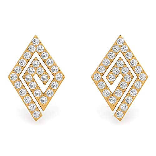 ASHNE JEWELS IGI Certified 0.21 Carat Round-Shape Natural Diamond (G-H Color, I1-I2 Clarity) 14K Yellow Gold Stud Earrings For Women