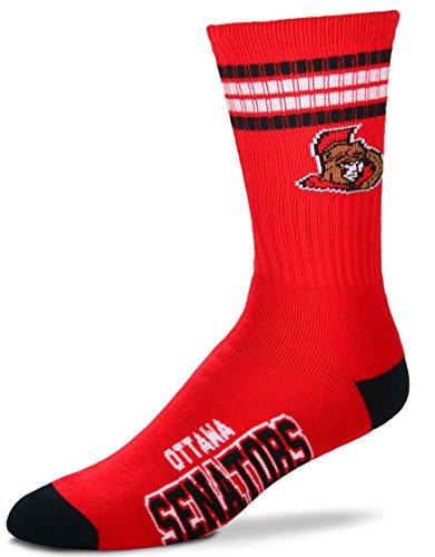 For Bare Feet NHL 4 Stripe Deuce Crew Men Socks-Ottawa Senators-Large (Ottawa Senators Hockey Socks)