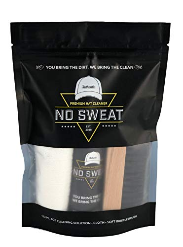 No Sweat Premium Hat Cleaner. Includes 4 OZ of Cleaning Solution, Microfiber Cloth, & SOFT Bristle Brush. Works great on all of your favorite hats