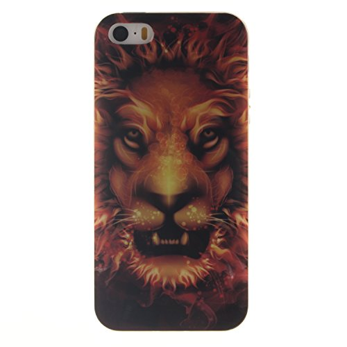 Price comparison product image iPhone SE case, Jenny Shop(Flam Lion) Exact Fit Flexible Ultra Slim Thin Clear TPU Soft Scratch Resistant Protective Skin Back Cover Case for iPhone 5 / 5S / SE case 2016 New Desgin