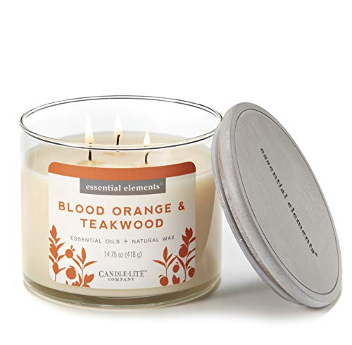 - Essential Elements by Candle-Lite Company Scented Blood Orange & Teakwood 3-Wick Jar Candle, 14.75 oz