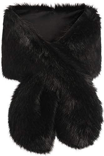 BABEYOND Womens Faux Fur Collar Shawl Faux Fur Scarf Wrap Evening Cape for Winter Coat (Black)