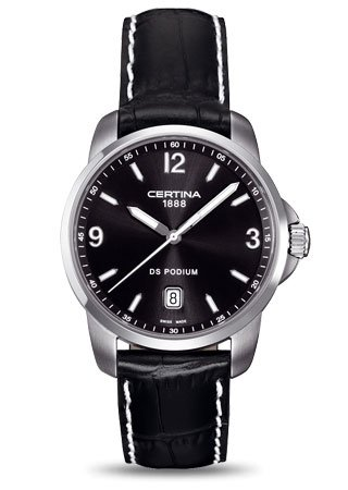 Certina DS Podium Genuine Black Leather Mens Quartz Watch C0014101605701