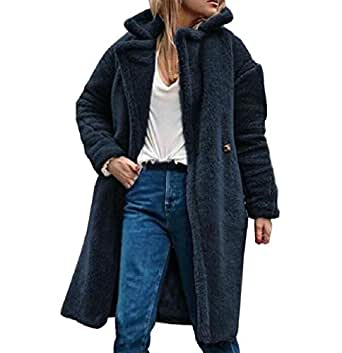 neveraway Women's Fleece Lined Lapel Winter Warm Cardigan Outwear Jacket Navy Blue S