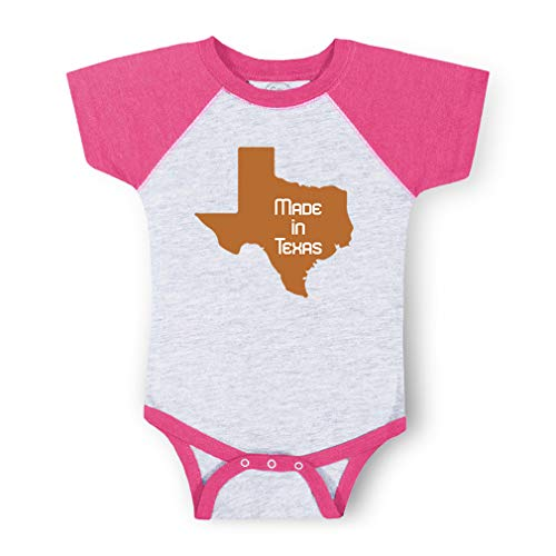Made in Texas Short Sleeve Taped Neck Boys-Girls Cotton Baby Baseball Raglan Bodysuit Jersey - Gray Hot Pink, 6 Months (Baby Texas Made In Onesie)