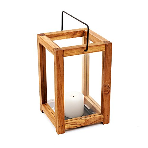 Design Ideas Takara Lantern, Natural Teak Wood Candle Holder (Small)