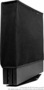 Playstation 4 Pro Dust Cover (VERTICAL PRO MODEL) by Foamy Lizard ® THE ORIGINAL MADE IN U.S.A. TexoShield (TM) premium ultra fine soft velvet lining nylon dust guard with back cable port (Vertical)