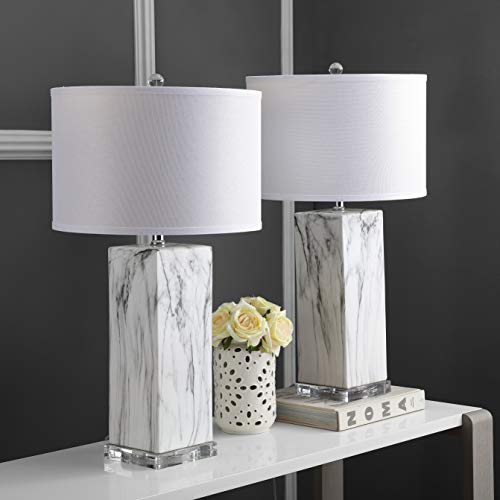 Safavieh LIT4500A-SET2 Lighting Collection Olympia Black and White Marble Table Lamp, ()
