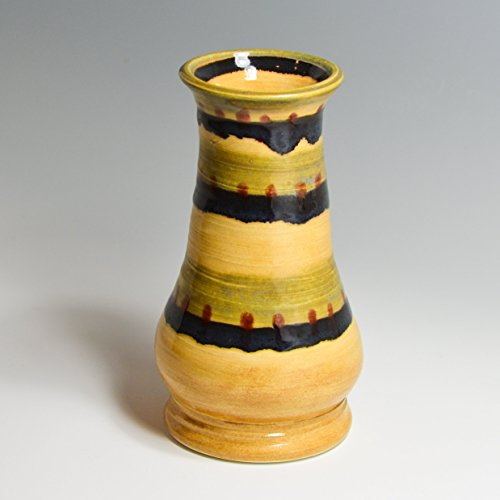 Stripe Vases (Hand Painted in Amber Gold with Green & Black Stripes / Handmade Ceramic)