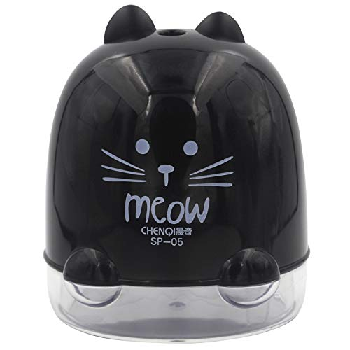 (Electric Automatic Pencil Sharpener,Black Cat Meow, Powered by USB Cable Connected to Cellphone Charger Laptop USB Port Operated (Black; Model:SP-05B))