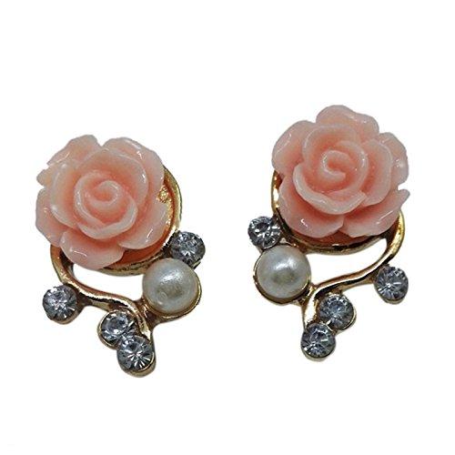TOOGOO(R) Rose Flower Crystal Rhinestone Pearl Stud Earrings
