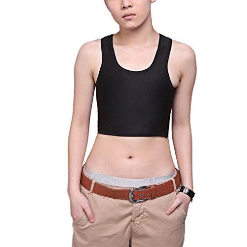 COSYOU Sexy Breathable Buckle Short Chest Breast Binder Trans Lesbian Black M