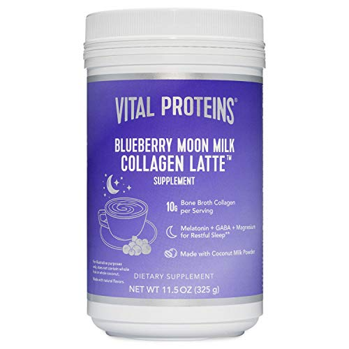 Vital Proteins Blueberry Moon Milk Collagen Latte 11.5 Oz! Formulated with Collagen, Melatonin, GABA and Magnesium! Promotes Beauty Sleep and Beauty Boosting Collagen Powder Drink! (Blueberry)