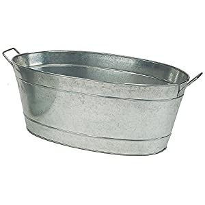 Achla designs large oval galvanized steel tub for Oval garden tub