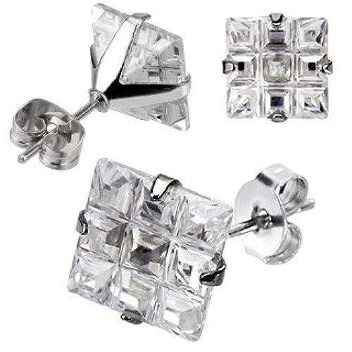 Stainless Steel Princess Cut 2 Ct Multi Faceted Cz Stud Earrings Mens Womens