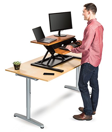 Spring 2 Version Guide - Stand Up Desk Store AirRise Pro Standing Desk Converter – Adjustable Height, Two Tier, 32 Inches Long, Teak