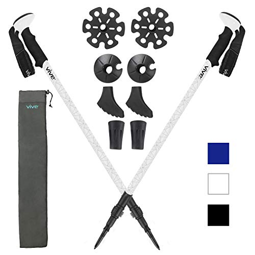 - Vive Anti Shock Trekking Poles (Pair) - Collapsible Hiking Sticks - Ultralight Antishock Trek Walking Staff - Rubber Ice Snow Tip - Running, Walking Cane for Men, Women - Backpack and Camping Gear