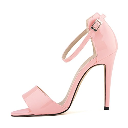 HooH Mujer Tacón alto Verano Sandalias Peep Toe Correa de tobillo Zapatos de tacón Sandalias Rosa