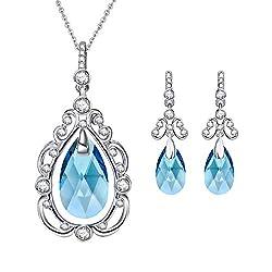 White Gold Plated Aquamarine Crystal Jewelry Set