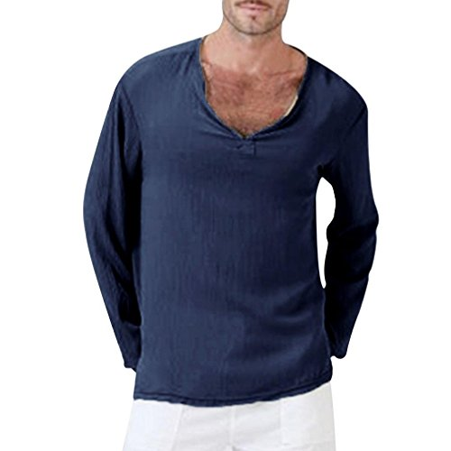 haoricu Mens Summer Long Sleeve T-Shirt Cotton Linen Shirt V-Neck Sport Yoga Top Blouse Navy ()