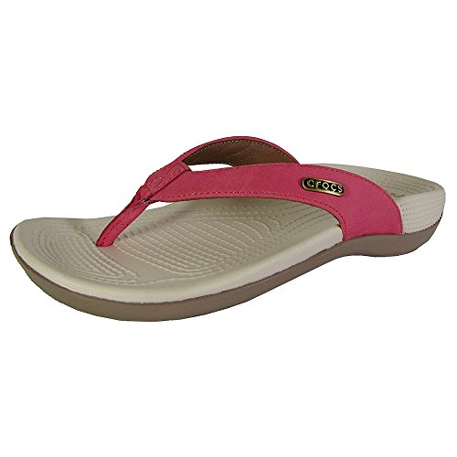 crocs Women's Ella Comfortpath Flip Flop, Poppy/Mushroom, 9 M (Genuine Leather Croc)