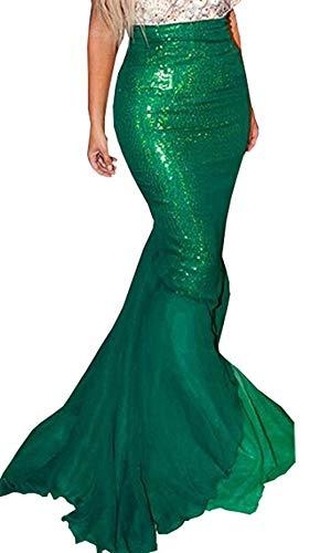 Long Toussaint Cosplay Jupe Femme Vert BeautyGo Skirt Costume Paillettes Sirne FwCtqPx