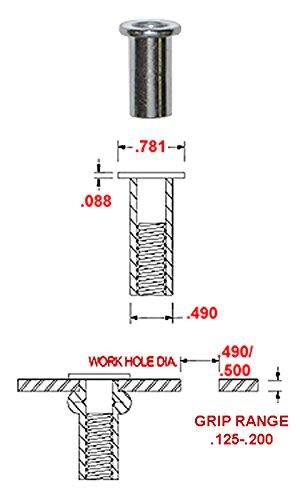 ALUMINUM RIVET-NUT PLAIN FINISH, 3/8'' -16 X .115-.200 GRIP RANGE (PACK OF 25)