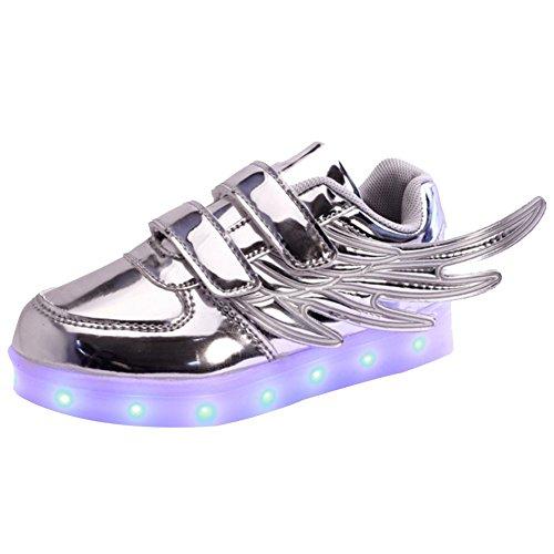 iiSport-Nouvelle 2016 printemps Sneaker argent pour bébé et petit enfant 7 Couleurs chargement USB LED Light chaussures de sport pour unisexe