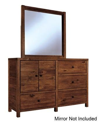 Ashley Fennison Collection B544 21 56  4 Drawer Youth Dresser With 2 Doors Acacia Solids And Veneers Construction And Wood Grain Details In Light