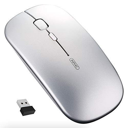 Wireless Mouse, Inphic Slim Silent Click Rechargeable 2.4G Wireless Mice 1601DPI Mini Optical Portable Travel Cordless Mouse with USB Receiver for PC Laptop Computer Mac MacBook, - Mouse Laptop Silver