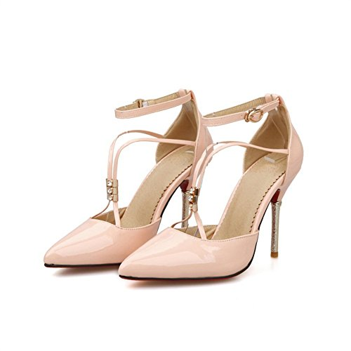 BalaMasa Girls Bandage Pointed-Toe Patent Leather Pumps-Shoes Pink 44erwq