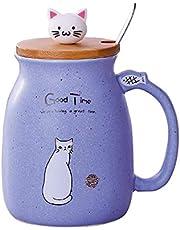 Kattmugg söt keramisk kaffekopp med härlig kattlock rostfri stålsked, nyhet morgonkopp te mjölk julmugg present 380 ml