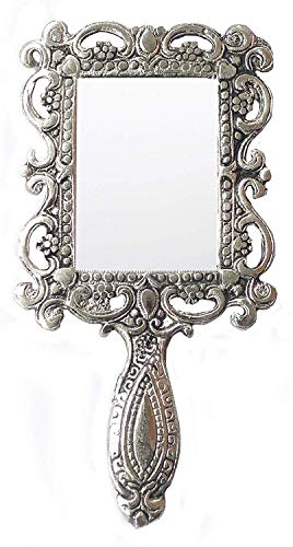 Rastogi Handicrafts German Silver Tone Purse Mirror Hand Mirrors Lovely Antique Actress Mack-up kit (Antique Hand Mirror)
