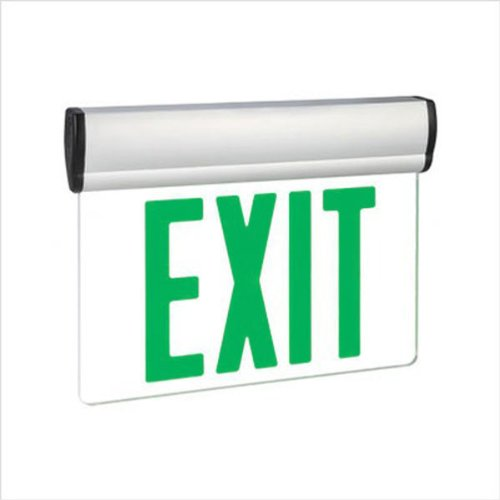 LED Exit Sign - Universal Edge-Lit - Green Letters - 120/277 Volt and Battery Backup - Exitronix S902-WB-SR-GC-WH by Exitronix