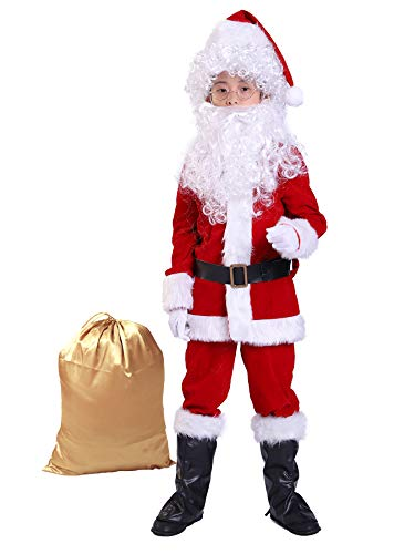 Bapbog Children's Deluxe Santa Suit Christmas Costume,Kids Christmas