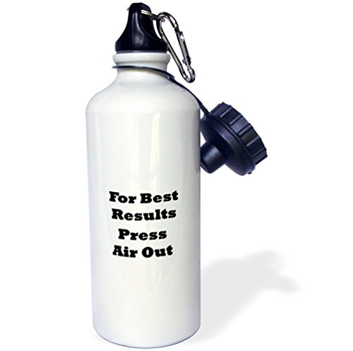 3dRose Florene Humorous Instructions - Image of Funny Sign Says For Best Results Press Air Out - 21 oz Sports Water Bottle (wb_252565_1) by 3dRose